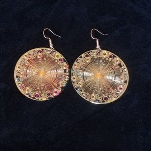 Laser etched gold earrings